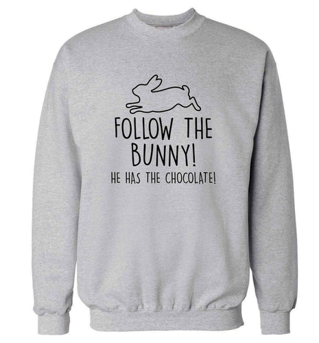 Follow the bunny! He has the chocolate adult's unisex grey sweater 2XL