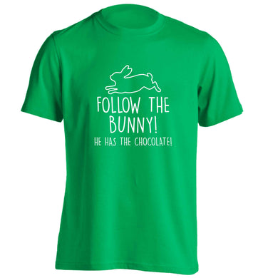 Follow the bunny! He has the chocolate adults unisex green Tshirt 2XL