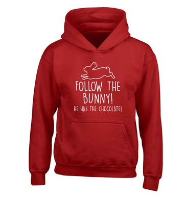 Follow the bunny! He has the chocolate children's red hoodie 12-13 Years