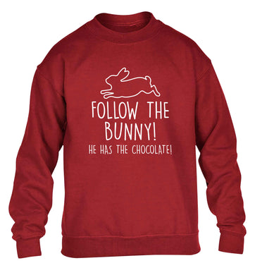 Follow the bunny! He has the chocolate children's grey sweater 12-13 Years
