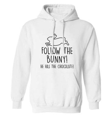 Follow the bunny! He has the chocolate adults unisex white hoodie 2XL