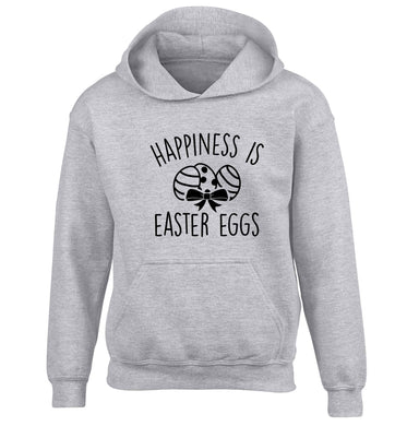 Happiness is Easter eggs children's grey hoodie 12-13 Years