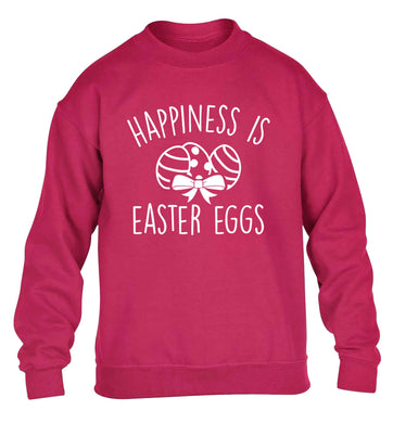 Happiness is Easter eggs children's pink sweater 12-13 Years
