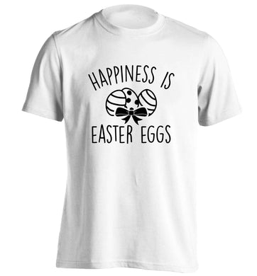 Happiness is Easter eggs adults unisex white Tshirt 2XL