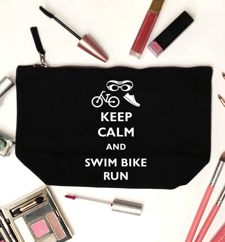Keep calm and swim bike run black makeup bag