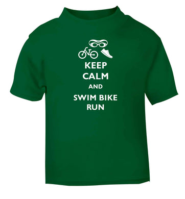 Keep calm and swim bike run green baby toddler Tshirt 2 Years