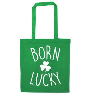 Born Lucky green tote bag