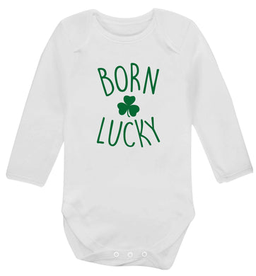 Born Lucky baby vest long sleeved white 6-12 months