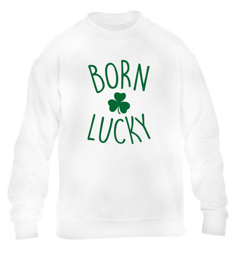 Born Lucky children's white sweater 12-13 Years