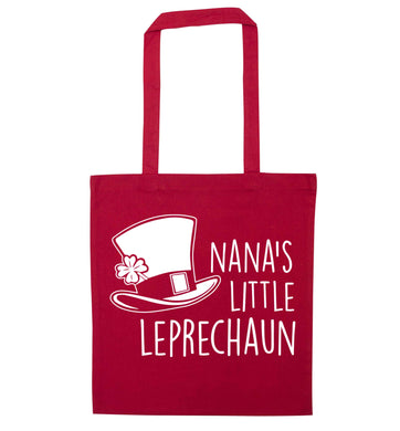 Nana's little leprechaun red tote bag