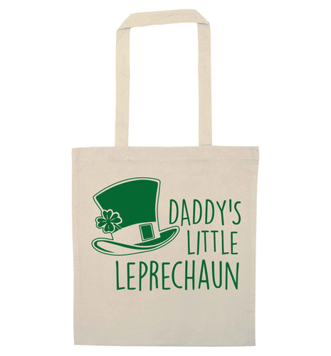 Daddy's little leprechaun natural tote bag