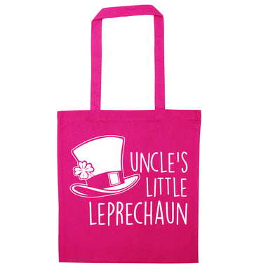 Uncles little leprechaun pink tote bag