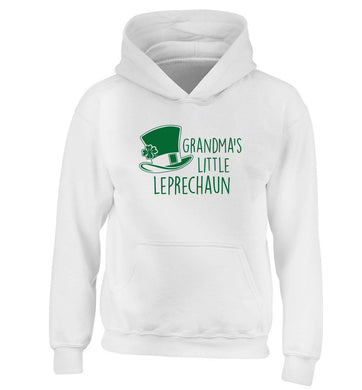 Grandma's little leprechaun children's white hoodie 12-13 Years
