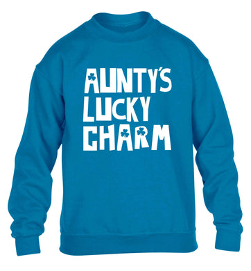 Aunty's lucky charm children's blue sweater 12-13 Years