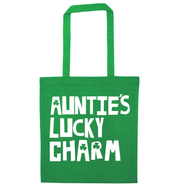 Auntie's lucky charm green tote bag