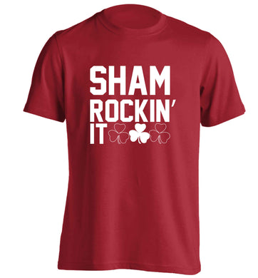 Shamrockin' it adults unisex red Tshirt 2XL