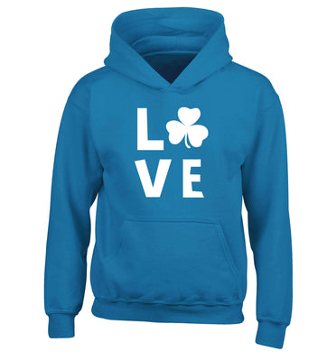 Shamrock love children's blue hoodie 12-13 Years