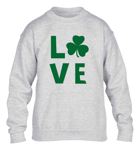 Shamrock love children's grey sweater 12-13 Years