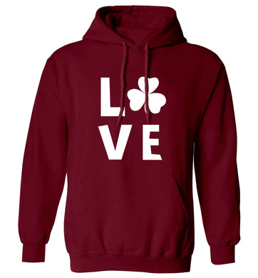 Shamrock love adults unisex maroon hoodie 2XL