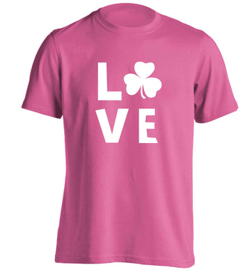 Shamrock love adults unisex pink Tshirt 2XL
