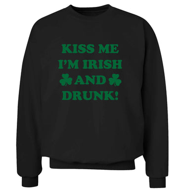 Kiss me I'm Irish and drunk adult's unisex black sweater 2XL