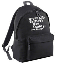 Happy first Fathers Day daddy love personalised black adults backpack
