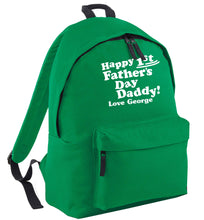 Happy first Fathers Day daddy love personalised green adults backpack