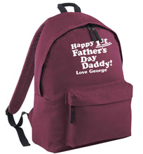 Happy first Fathers Day daddy love personalised maroon adults backpack