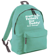 Happy first Fathers Day daddy love personalised mint adults backpack
