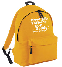 Happy first Fathers Day daddy love personalised mustard adults backpack