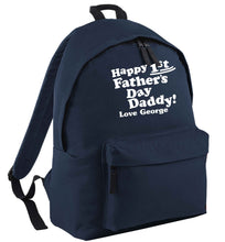 Happy first Fathers Day daddy love personalised navy adults backpack