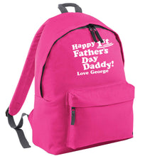 Happy first Fathers Day daddy love personalised pink adults backpack