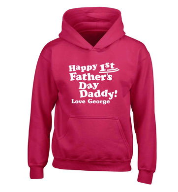 Personalised Happy first father's day daddy  children's pink hoodie 12-13 Years
