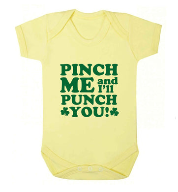 Pinch me and I'll punch you baby vest pale yellow 18-24 months