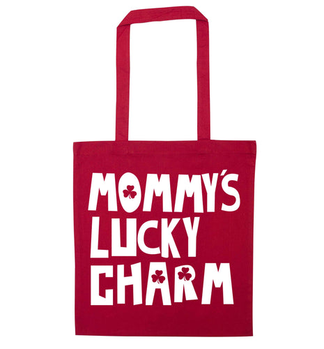 Mommy's lucky charm red tote bag