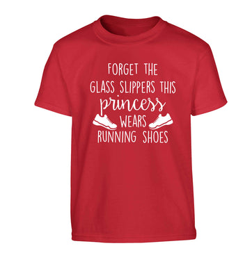 Forget the glass slippers this princess wears running shoes Children's red Tshirt 12-13 Years