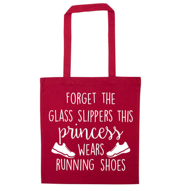 Forget the glass slippers this princess wears running shoes red tote bag