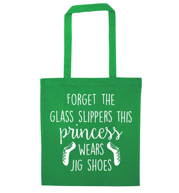 This princess wears jig shoes green tote bag