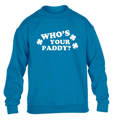 Who's your paddy? children's blue sweater 12-13 Years