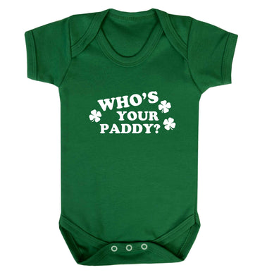 Who's your paddy? baby vest green 18-24 months