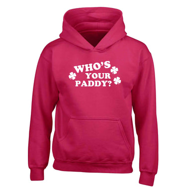 Who's your paddy? children's pink hoodie 12-13 Years