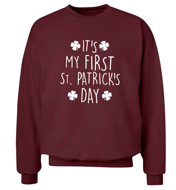 It's my first St.Patrick's day adult's unisex maroon sweater 2XL
