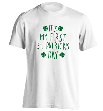 It's my first St.Patrick's day adults unisex white Tshirt 2XL