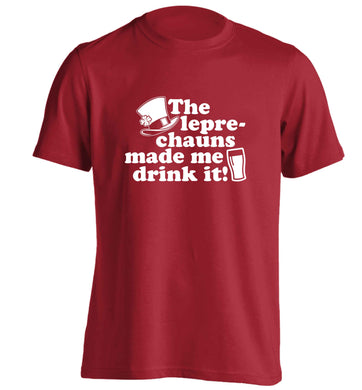 The leprechauns made me drink it adults unisex red Tshirt 2XL
