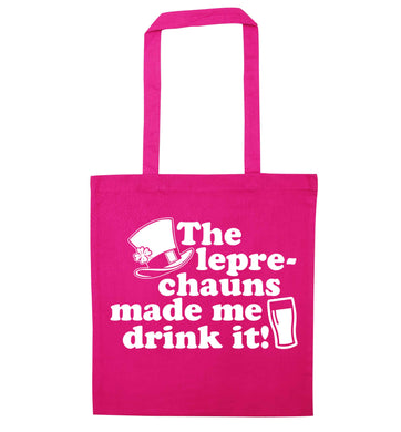 The leprechauns made me drink it pink tote bag