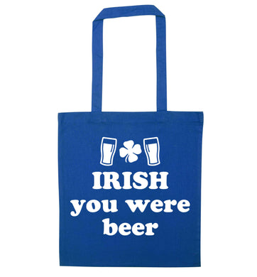 Irish you were beer blue tote bag