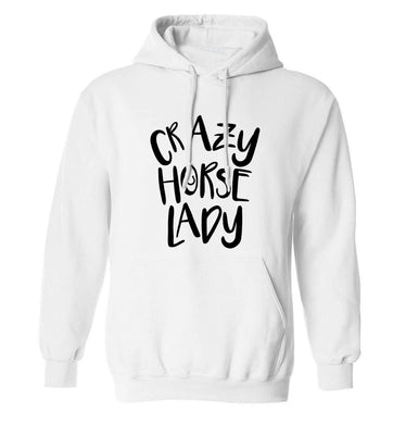 Crazy horse lady adults unisex white hoodie 2XL