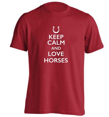 Keep calm and love horses adults unisex red Tshirt 2XL