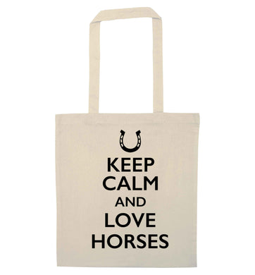 Keep calm and love horses natural tote bag