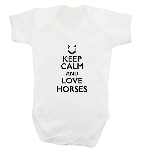 Keep calm and love horses baby vest white 18-24 months